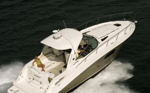 Sea Ray 375 Sundancer available for charter in Greece on a bareboat basis.