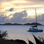 Sunset on Caneel Bay in St Johns in US Virgin Islands.