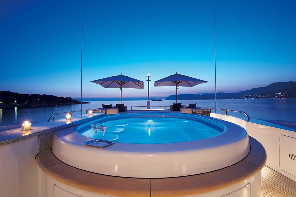 Luxury superyacht charter ANDREAS L. Jacuzzi on deck