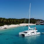 Luxury catamaran Zingara at the Baths on Virgin Gorda