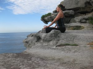 Rachel meditating