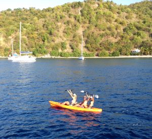 Soon Come's 3 man kayak luxury yacht charter vacation