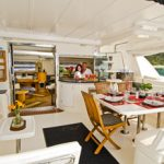 Captain Peter and Chef Darcy on catamaran charter, Sea Leopard, in the BVI.