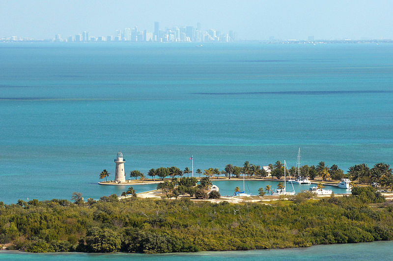 Boca Chita Key and Miami Skyline in Biscayne NP, Florida