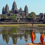 Buddhist monks in front of Angkor Wat, Cambodia, Asia