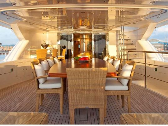 M/Y Areila. Deck dining . Mediterranean yacht charter. Turkey yacht charter