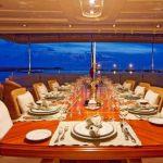 M/Y Areila. Dining. Mediterranean yacht charter. Turkey yacht charter