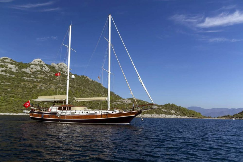Turkish gullet Derya Deniz was one of 50 boats at the Marmaris Boat Show.
