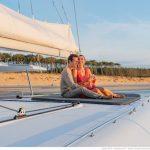 Luxury Sailing yacht SY Daniella II. Guest on deck in Greece