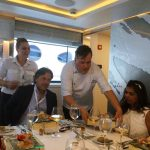 Chef Pano explaining the course at lunch during the 2017 Greek Yacht Show