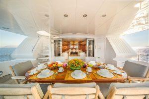 lunch aboard greek motor yacht milos at sea