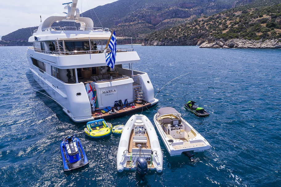 Greece luxury yacht charter MARLA, water toys