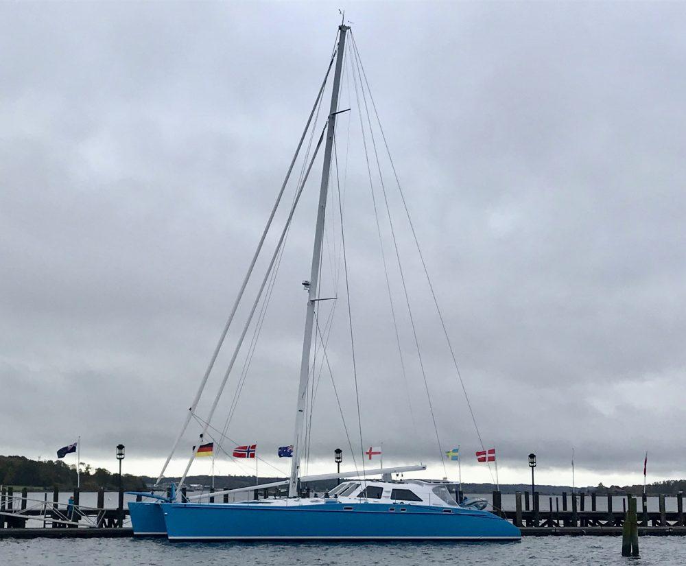 Catamaran Skylark at the dock in Rhode Island prior to leaving for the Caribbean charter season.