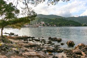 Gulets Libra, Lotus, Navilux and Tajna Mora at harbor in Zaton, near Dubrovnik. Croatia