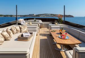 Greece motor yacht charter Anamel skylounge