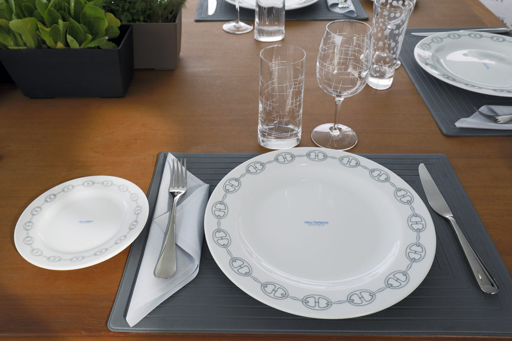 New Horizons 2's tableware for your Greek Islands charter.
