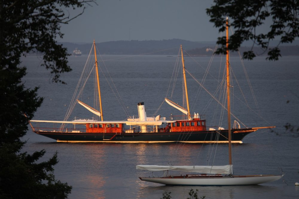Classic Steamship Cangarda at anchor. Sailing in New England on Maine Yacht Charters.