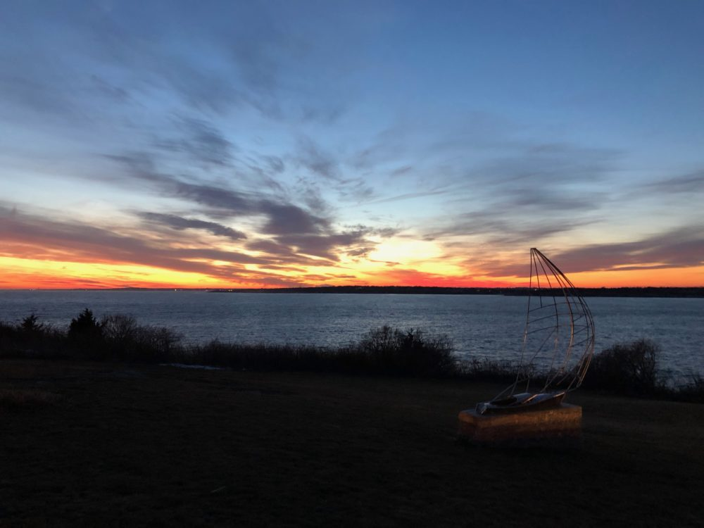 Chartering during Covid, Newport, Rhode Island. Sunset from Castle Hill in Newport, RI.