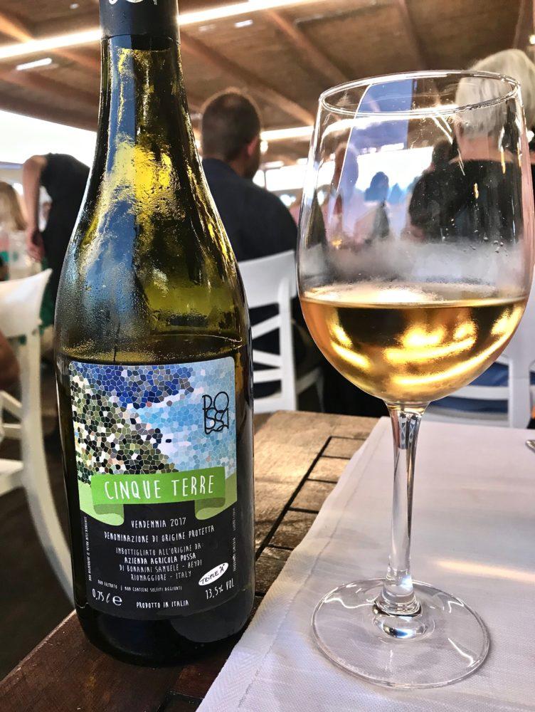 White wine from Azienda Agricola Possa in the Cinque Terre, Italy. Italian Riviera.