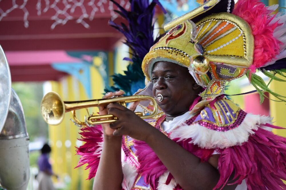 colorful nassau with trumpet player